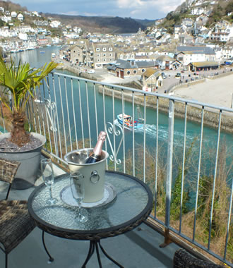 Fowey room has spectacular views over Looe town, beach and the sea